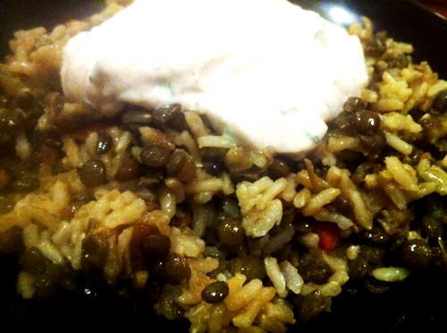 lentils and yogurt