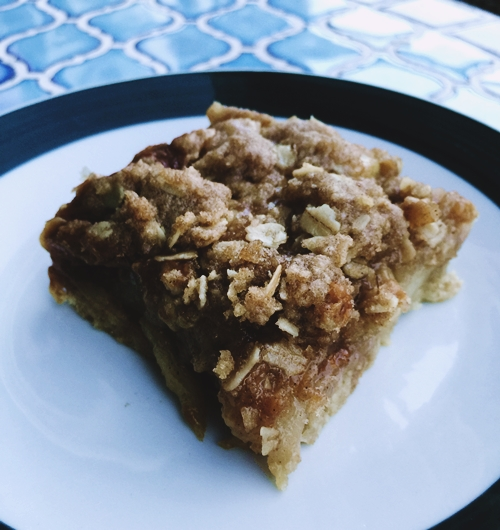 apple crisp salted caramel bar on table